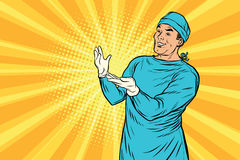 Doktorski chirurg po operaci ono uśmiecha się ilustracji