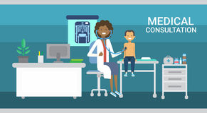 Doktorski Egzamininuje Cierpliwy Medycznej konsultaci opieki zdrowotnej klinik szpitala usługa medycyny sztandar ilustracji