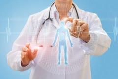 Doktorski egzamininuje hologram osoba Obraz Stock