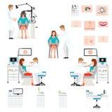 Doktorski egzamininuje pacjent z endoskopem i Phoropter ilustracja wektor