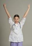 Doktorski gestykuluje zwycięstwo Zdjęcia Stock