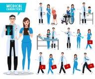 Doktorski i pielęgniarka wektorowy charakter - set Opieka zdrowotna i medyczni pracownicy z pacjentami royalty ilustracja