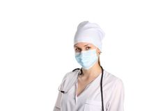 doktorski maskowy stetoskop fotografia stock