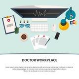 Doktorski miejsce pracy Medycyn ikony ustawiać w płaskim projekta stylu mieszkanie Obraz Stock