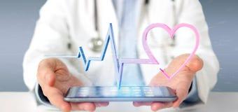 Doktorski mienie 3d odpłaca się medycznego serce wygina się obraz stock