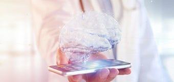 Doktorski mienie 3d odpłaca się sztucznego mózg fotografia royalty free