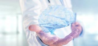 Doktorski mienie 3d odpłaca się sztucznego mózg zdjęcia royalty free