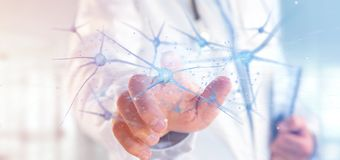 Doktorski mienie 3d renderingu grupa neurony zdjęcie royalty free