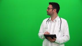 Doktorski Przedstawiać Z Digital ekranem Prawa strona zbiory