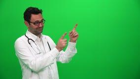 Doktorski Robi Przedstawia gest Z rękami Lewa strona zbiory