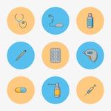 Doktorski ` s ustawiający proste ikony dla taktować choroby tak jak grypa i chłód ilustracja wektor