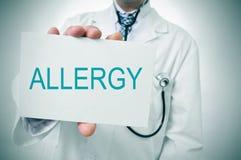 Doktorski seans signboard z słowo alergią fotografia stock