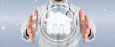 Doktorski używa cyfrowy rodzinny opieka interfejsu 3D rendering ilustracji