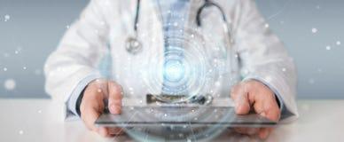 Doktorski używa cyfrowy medyczny futurystyczny interfejsu 3D rendering Fotografia Stock