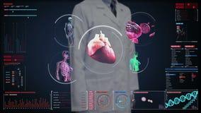 Doktorski wzruszający cyfrowy ekran, Żeńskiego ciała skanerowania naczynie krwionośne, limfatyczny, kierowy, krążeniowy system w  zdjęcie wideo