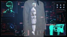 Doktorski wzruszający cyfrowy ekran, skanerowanie przezroczystości robota cyborga ciało w cyfrowym interfejsie sztuczna inteligen zbiory