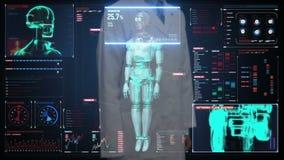 Doktorski wzruszający cyfrowy ekran, skanerowanie robota cyborga ciało w cyfrowym interfejsie sztuczna inteligencja zbiory wideo