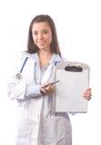 doktorskiej kobiety odosobniony biel zdjęcie stock