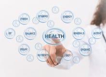 Doktorspunkter på den vård- att bry sig symbolen med annat medicinskt tecken royaltyfri foto