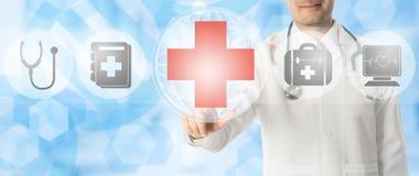Doktorspunkter på läkarundersökningen korsar med medicinska symboler stock illustrationer