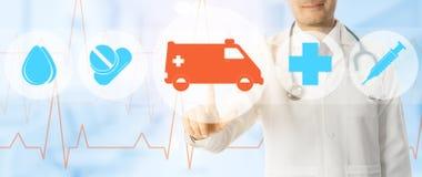Doktorspunkter p? ambulansen och n?dl?gesymbolen royaltyfri illustrationer