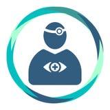 Doktorssymbol med reflektorhjälpmedlet och ögonsymbol i abstrakt cirkel stock illustrationer