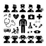 Doktorssymbol och sjukhus Arkivbild