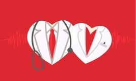Doktorssymbol på röd medicinsk bakgrund Arkivbild