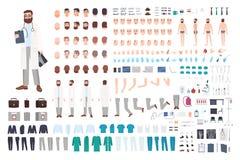 Doktorsteckenkonstruktör Manlig doktorsskapelseuppsättning Olika ställingar, frisyr, framsida, ben, händer, tillbehör royaltyfri illustrationer