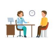 Doktorsterapeuten tar patienten, arbetar med det personliga kortet, lyssnar klagomål royaltyfri illustrationer