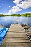 Dokuje na jeziorze w lato chałupy kraju Fotografia Royalty Free