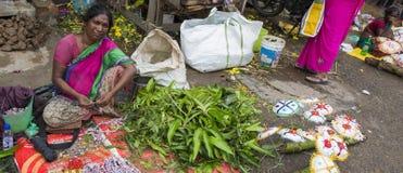 Dokumentär redaktörs- bild En oidentifierad indier på hans frukt och grönsak shoppar i en liten marknad för lantlig by i Tamil Na Royaltyfri Foto
