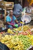 Dokumentär redaktörs- bild En oidentifierad indier på hans frukt och grönsak shoppar i en liten marknad för lantlig by i Tamil Na Royaltyfri Fotografi