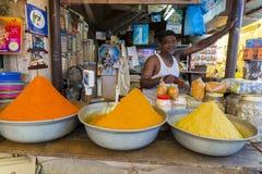 Dokumentär redaktörs- bild Traditionella kryddor och torra frukter i lokal basar i Indien Royaltyfri Foto