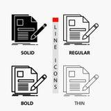 Dokument, Datei, Seite, Stift, Zusammenfassungs-Ikone in der dünnen, regelmäßigen, mutigen Linie und in der Glyph-Art Auch im cor vektor abbildung