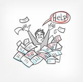Dokument för begrepp för byråkrativektorillustration skissar klotter royaltyfri illustrationer