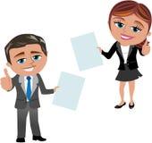 Dokument för visning för affärskvinna och man royaltyfri illustrationer