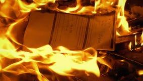 Dokument mit dem Schreiben gesetzt auf Feuer - generischer Inhalt stock video footage