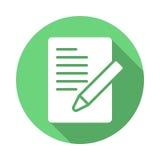 Dokument mit Stift, bilden flache Ikone Stockbild