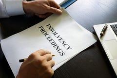 Dokument mit Titelinsolvenzverfahren Lizenzfreies Stockbild