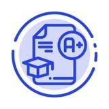 Dokument, nakrętka, edukacja, skalowanie, A+ linii linii błękit Kropkująca ikona ilustracji