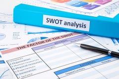 Dokument SWOT analiza dla biznesowego planowania i cenienia Obrazy Royalty Free