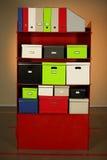 Dokumentacja stojak z pudełkami obrazy stock