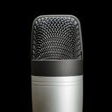 Dokumentacyjny pracowniany kondensatorowego mikrofonu odizolowywający zakończenie up Fotografia Royalty Free