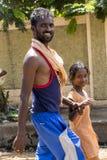 Dokumentalny Redakcyjny wizerunek Niezidentyfikowani chrześcijanie, katolików ludzie chodzą od Chennai, Madras Velanganni, Velank fotografia royalty free