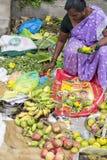 Dokumentalny Redakcyjny wizerunek Niezidentyfikowany indianin przy jego owoc i warzywo sklepem w małym wioska rynku w tamil nadu Zdjęcia Royalty Free
