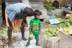 Dokumentalny Redakcyjny wizerunek Niezidentyfikowany indianin przy jego owoc i warzywo sklepem w małym wioska rynku w tamil nadu Zdjęcie Stock