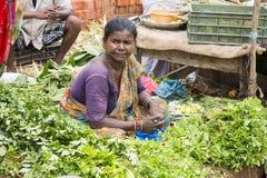 Dokumentalny Redakcyjny wizerunek Niezidentyfikowany indianin przy jego owoc i warzywo sklepem w małym wioska rynku w tamil nadu Zdjęcie Royalty Free