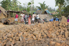 Dokumentarischer Handstrichziegel in Indien Lizenzfreies Stockfoto
