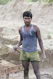Dokumentarischer redaktioneller Handstrichziegel in Indien Stockfotografie